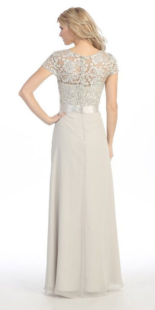 Plus Size Lace Top Evening Gown Silver Short Sleeves Chiffon Skirt