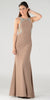 Poly USA 7192 Full Length Sexy Prom Gown Mocha Sheath