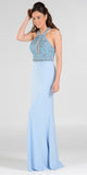 Poly USA 7194 Sexy Red Carpet Long Gown Blue Keyhole Bodice