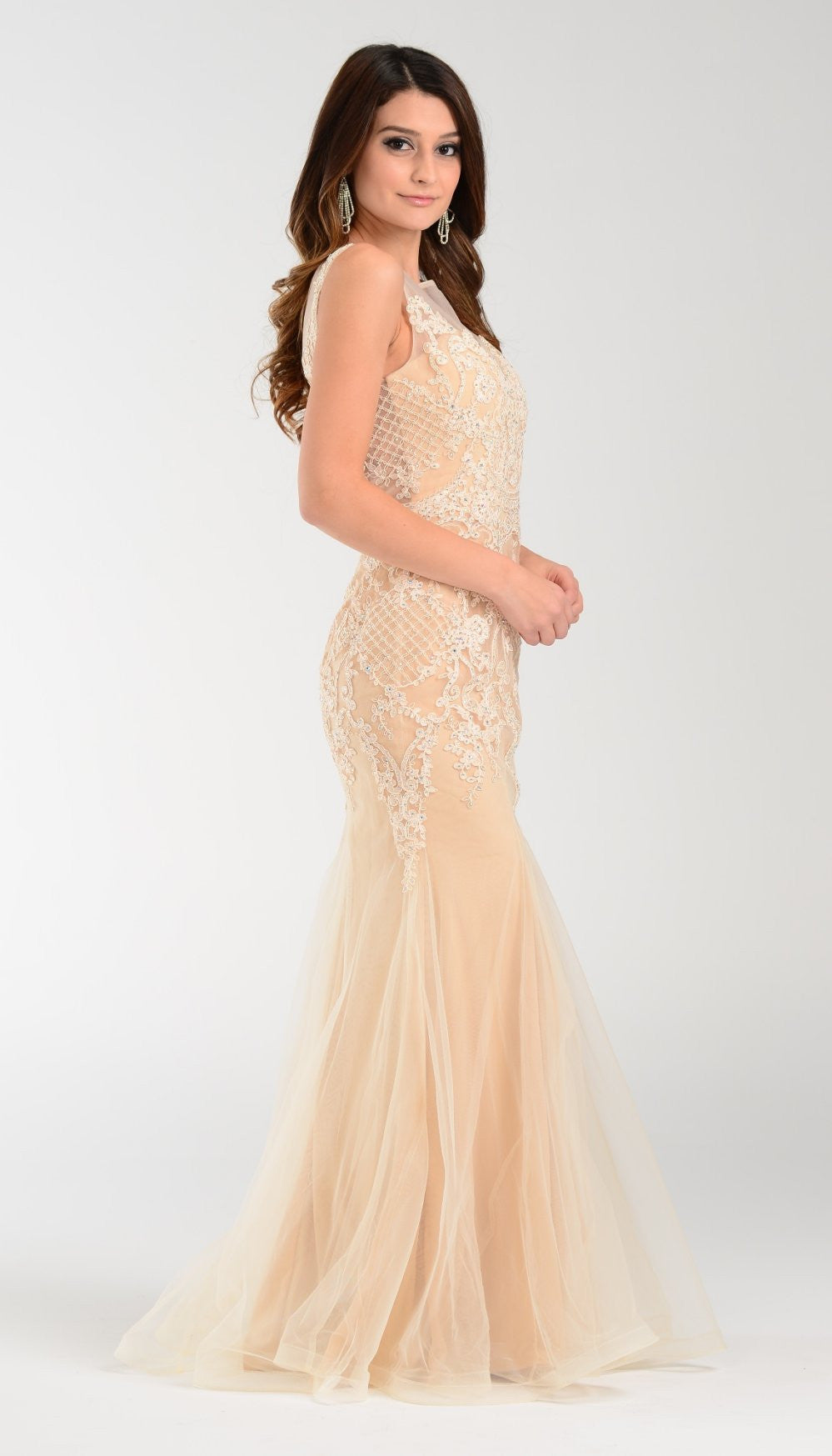 Poly USA 7338 Mermaid Silouette Prom Dress Champagne Sheer Neck