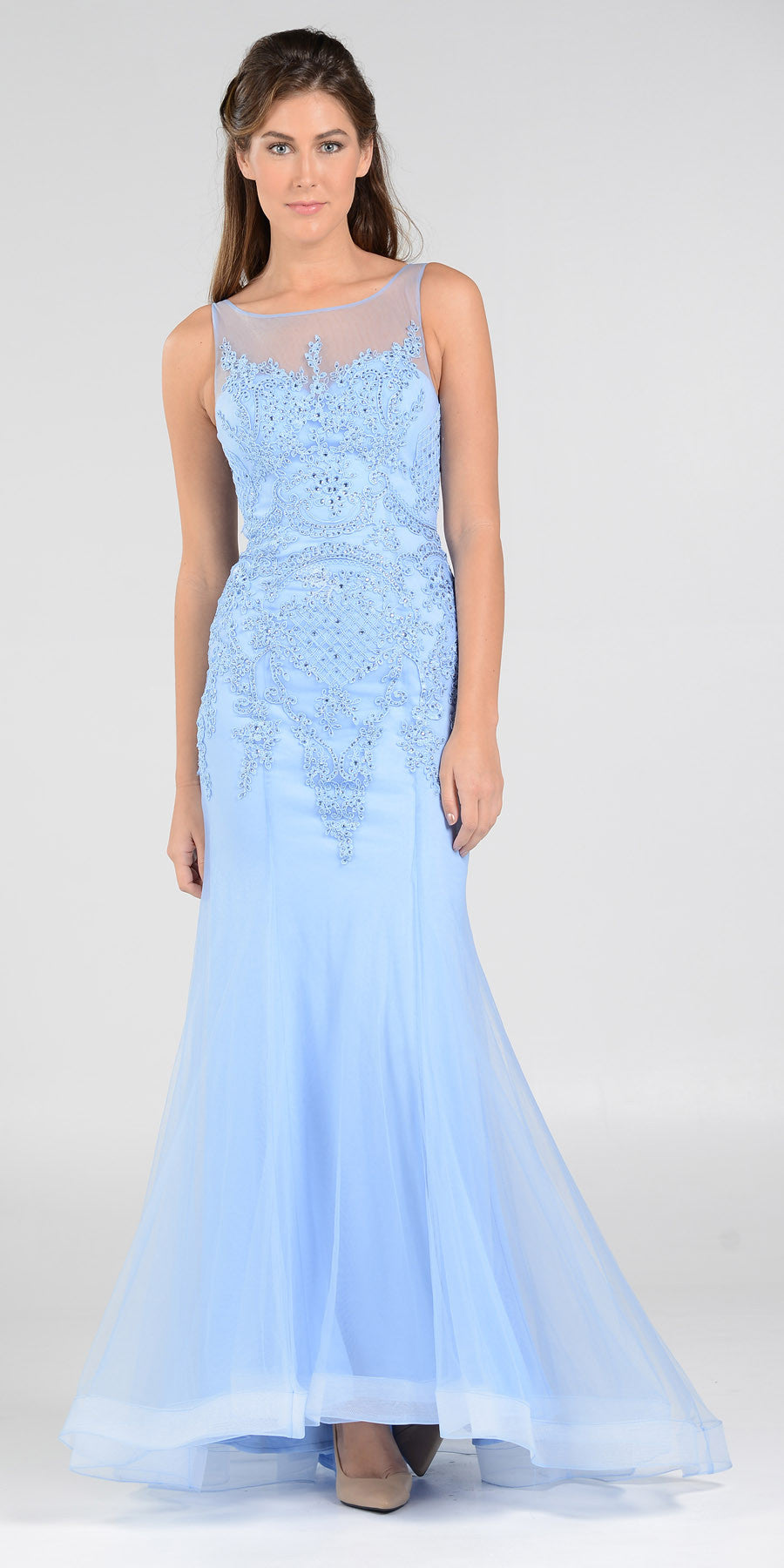 Poly USA 7338 Mermaid Silouette Prom Dress Periwinkle Sheer Neck