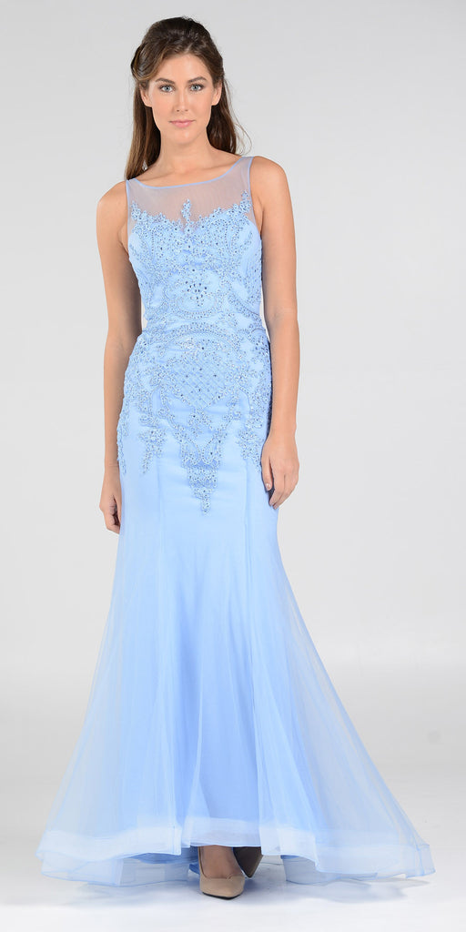 Poly USA 7338 Mermaid Silhouette Prom Dress Periwinkle Sheer Neck
