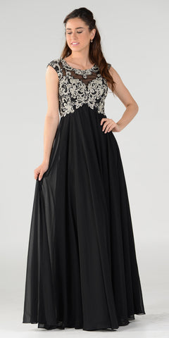 Poly USA 7354 Empire Waist Long Chiffon Black Gown Cap Sleeve