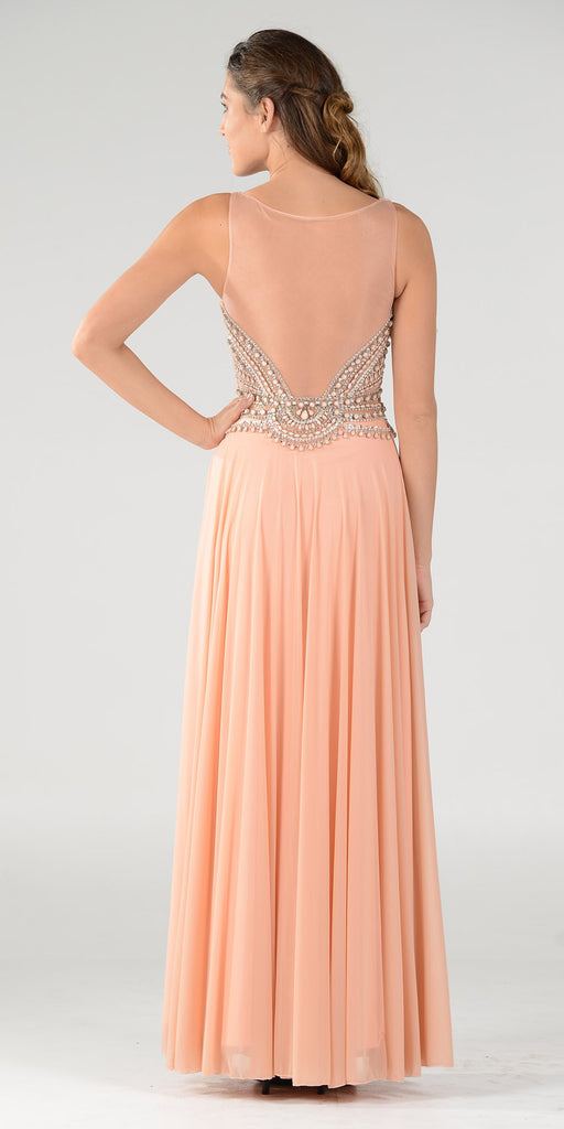 Poly USA 7400 Flowy Chiffon Prom Gown Coral V Neckline Empire