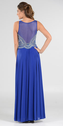 Poly USA 7400 Flowy Chiffon Prom Gown Royal Blue V Neckline Empire