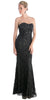 Red Carpet Black Celebrity Lace Formal Gown Long Strapless Beads