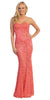 Red Carpet Coral Celebrity Lace Formal Gown Long Strapless Beads
