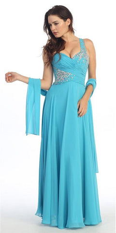 Rhinestone Studded Bodice A Line Turquoise Prom Gown
