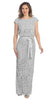 Ribbon Sash Belt Silver Floral Laced Long Column Party Gown