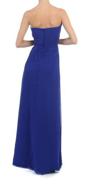 Ruched Bodice Layered Skirt Long Royal Blue Formal Gown