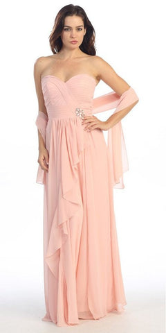 Ruched Bodice Layered Skirt Long Dusty Pink Formal Gown
