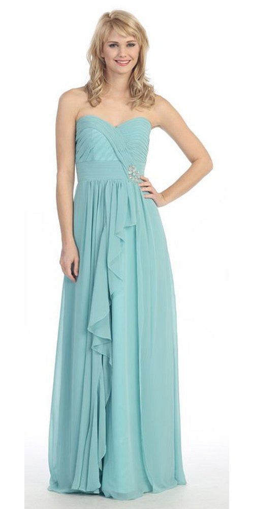 Ruched Bodice Layered Skirt Long Mint Formal Gown