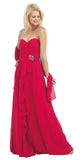 Ruched Bodice Layered Skirt Long Red Formal Gown