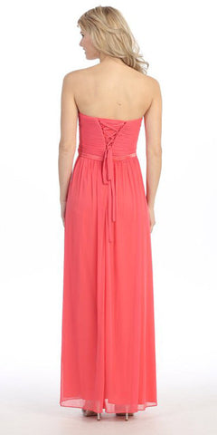 Ruched Corset Bodice Strapless Long Coral Formal Dress