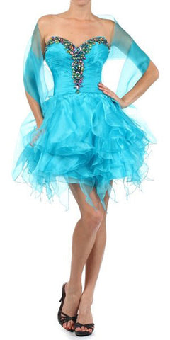 Ruffled Skirt Strapless Turquoise Short Puffy Dress