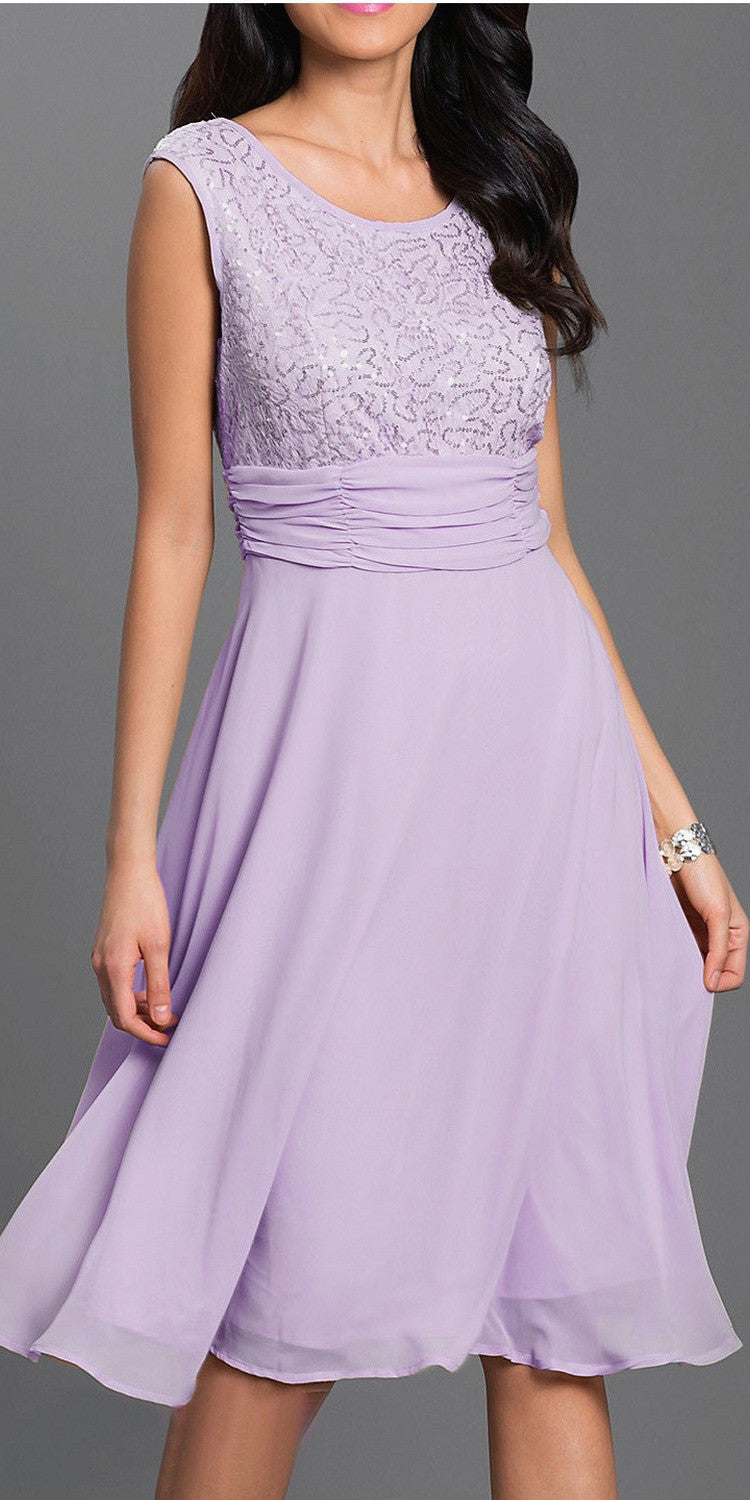 Scoop Neck Empire Lace/Sequin Top Dress Lilac Knee Length