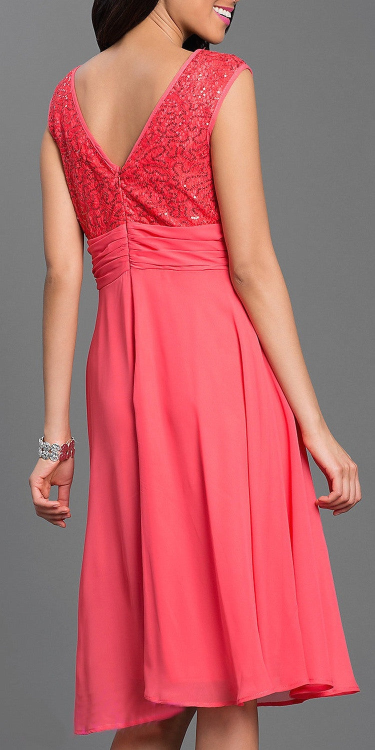 Scoop Neck Empire Lace/Sequin Top Dress Coral Knee Length
