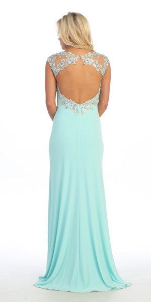 Sexy Floor Length Formal Gown Aqua Front Slit Open Back