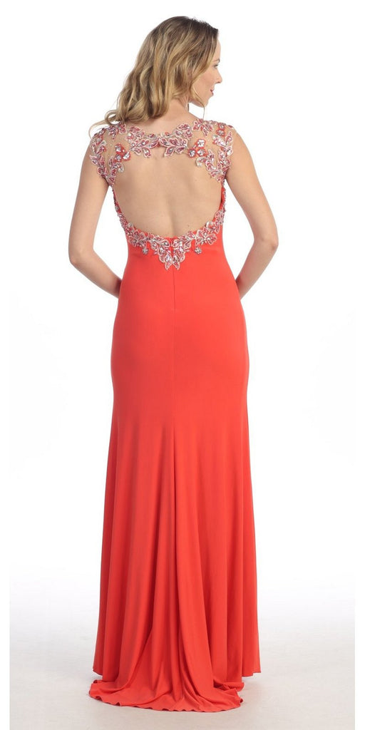 Sexy Floor Length Formal Gown Coral Front Slit Open Back