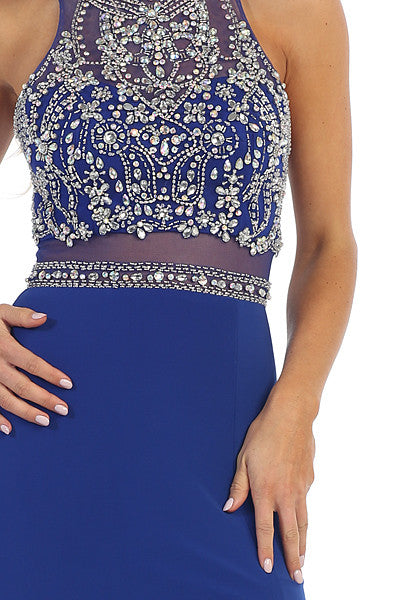 Sexy Slit Long Prom Gown Royal Blue Sheer Waist Rhinestone Top