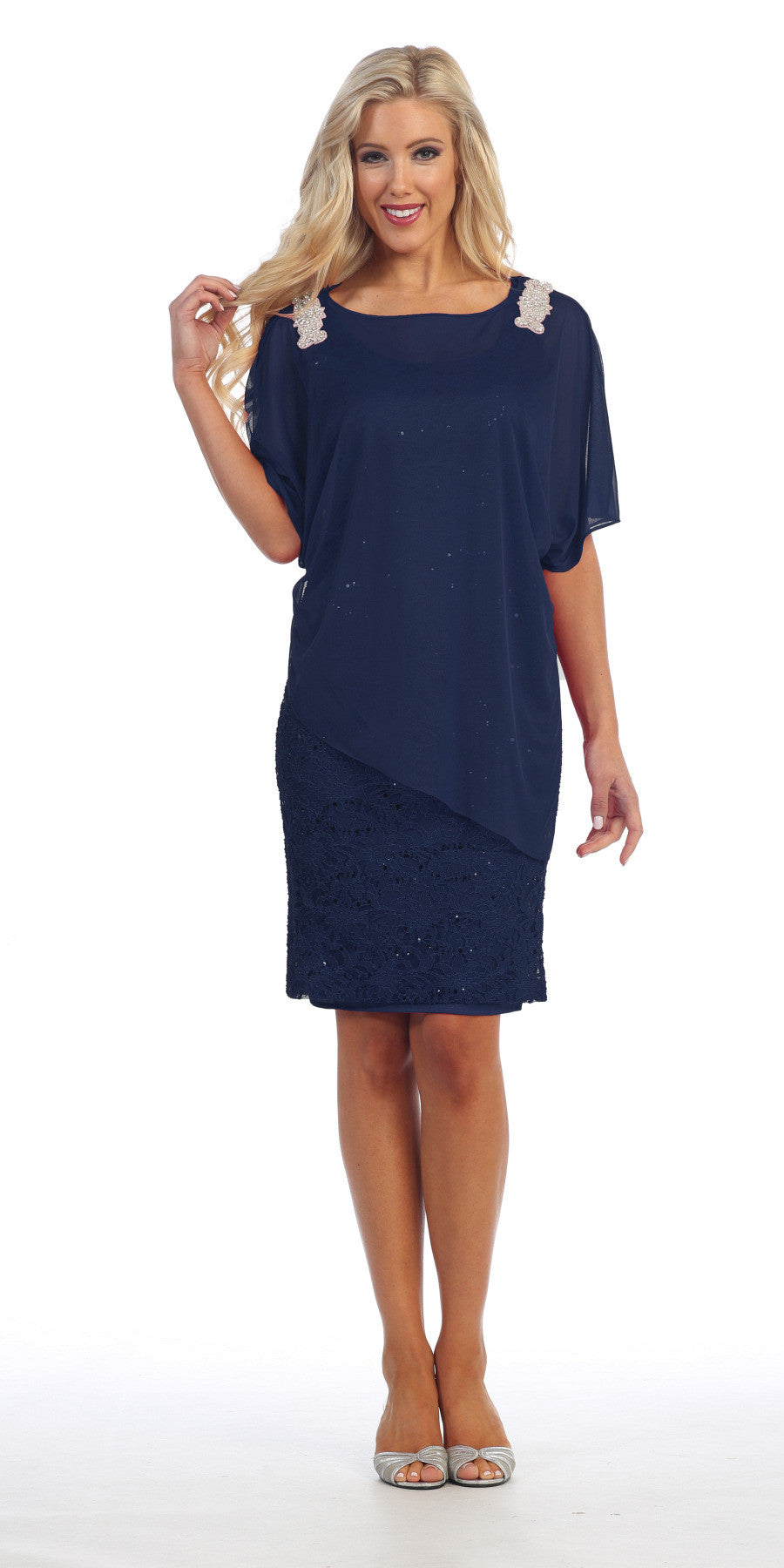 Sheer Batwing Sleeved Lace Navy Blue Sheath Cocktail Dress