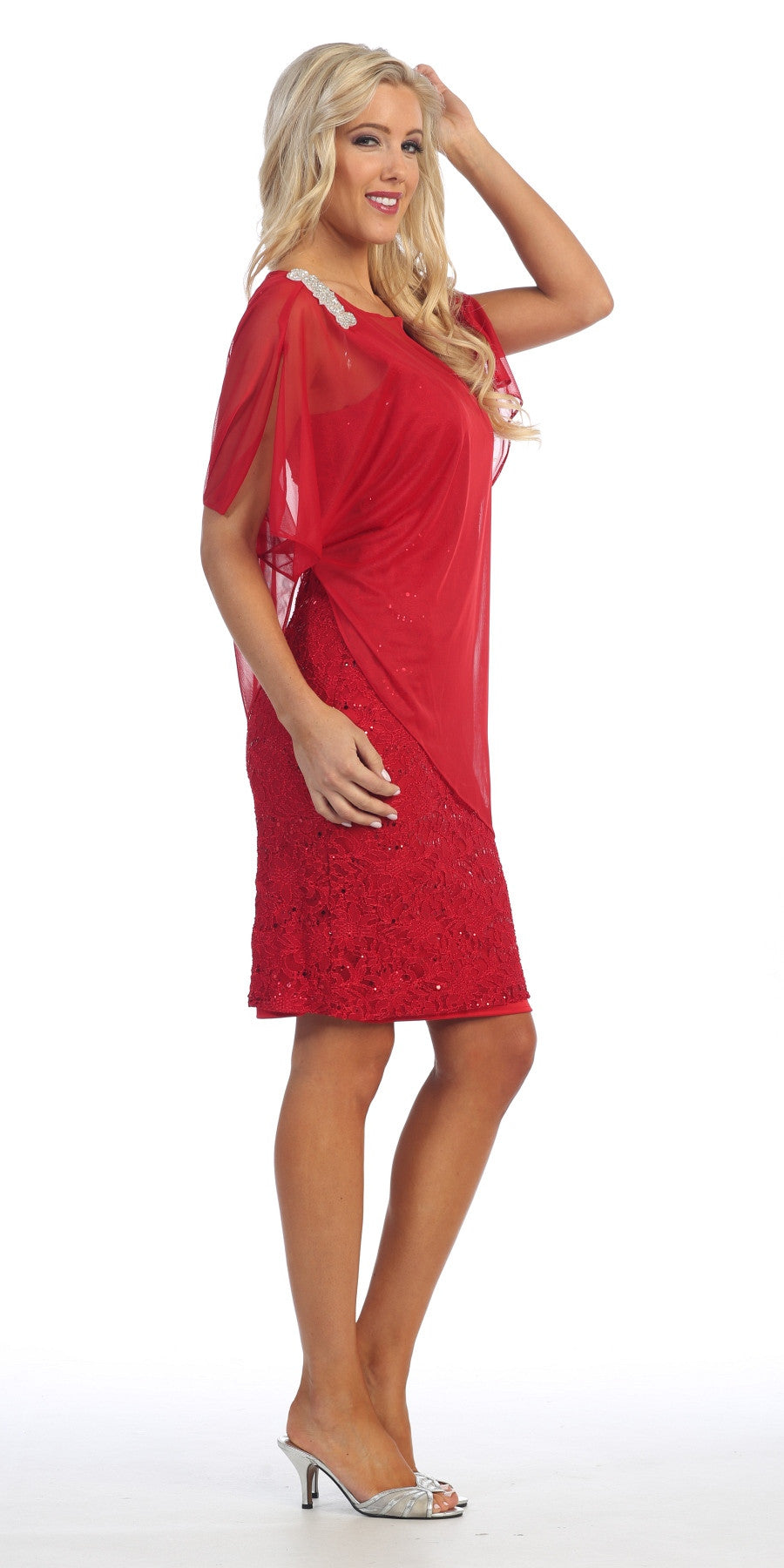 Sheer Batwing Sleeved Lace Red Sheath Cocktail Dress