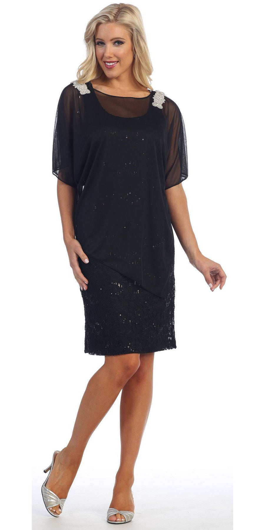 Sheer Batwing Sleeved Lace Black Sheath Cocktail Dress