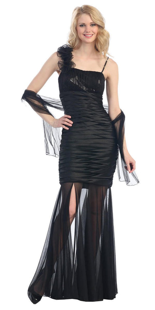 Sheer Skirt Sleeveless Thigh Slit Black Long Prom Dress