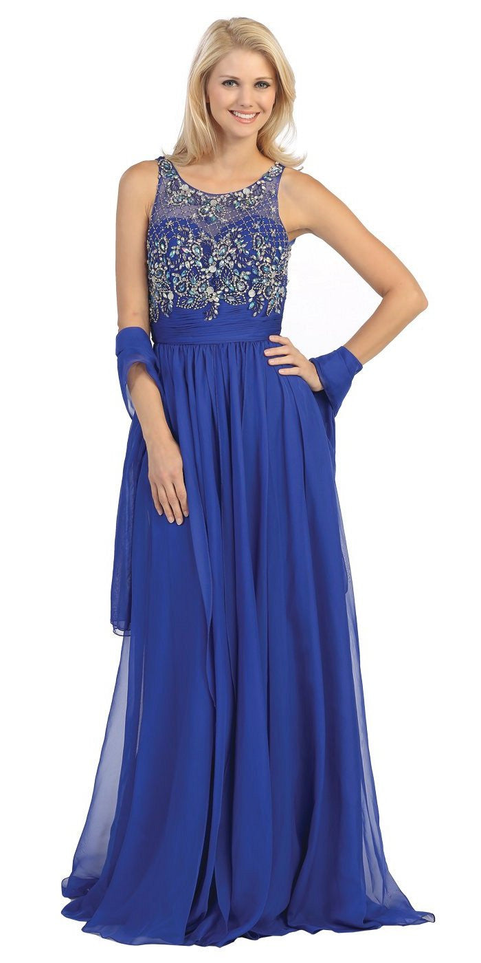 Sheer Yoke Jewel Neckline Long Royal Blue A Line Formal Gown
