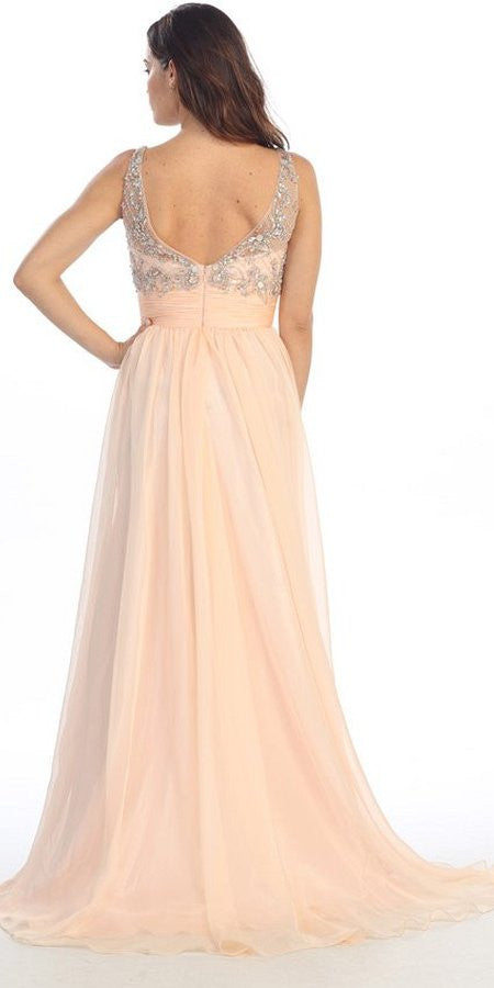 Sheer Yoke Jewel Neckline Long Peach A Line Formal Gown