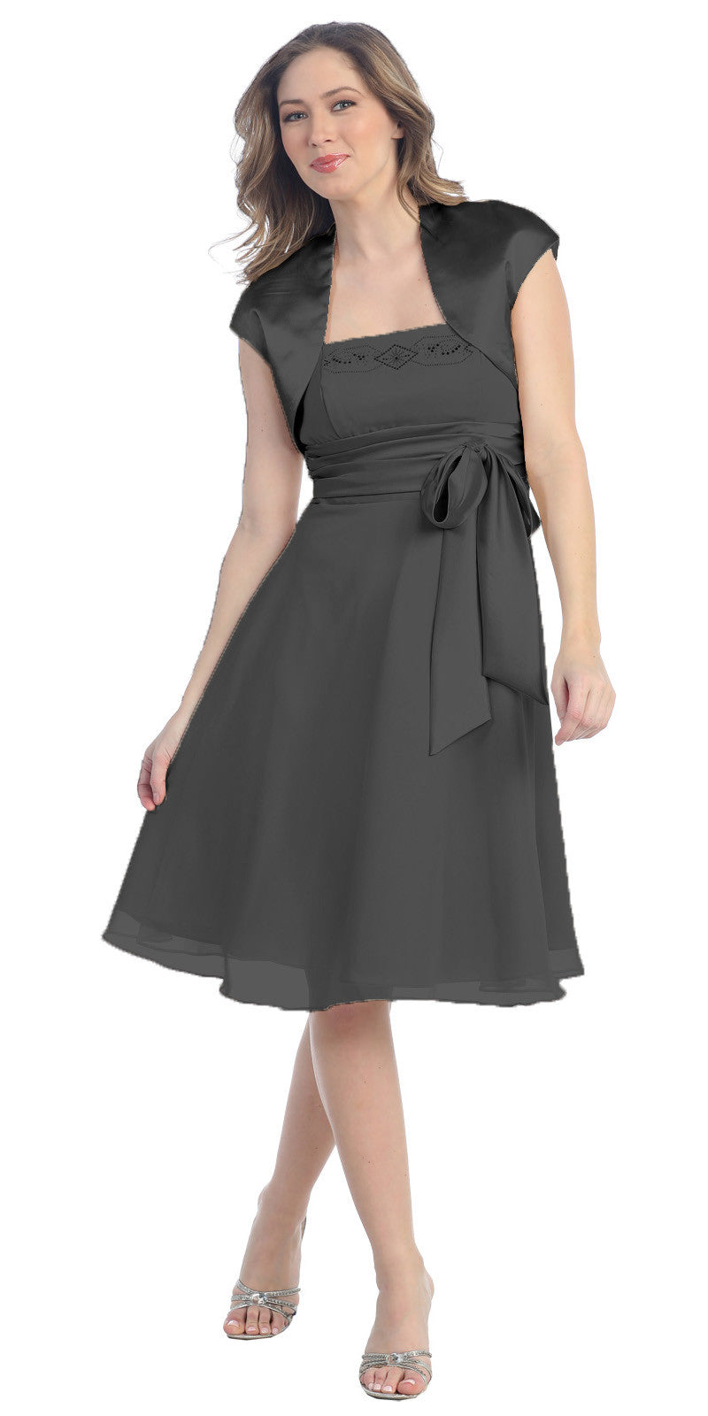 Short A Line Black Chiffon Dress Includes Bolero Jacket Knee Length
