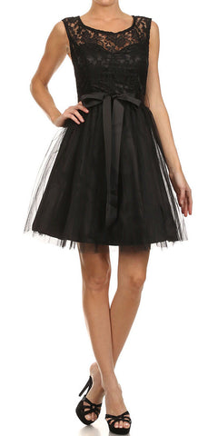 Short A Line Lace/Tulle Dress Black Ribbon Waist