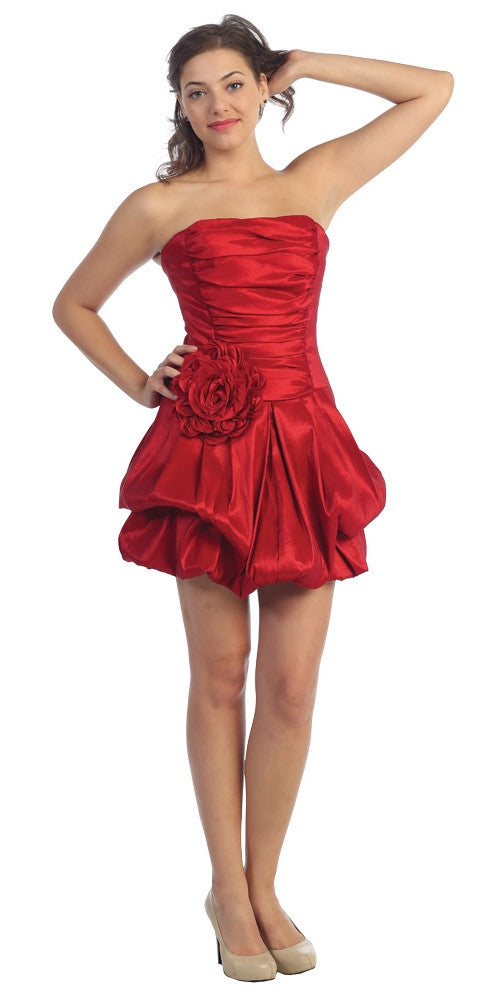 Short Red Evening Cocktail Gown Bubble Strapless Stretch Taffeta