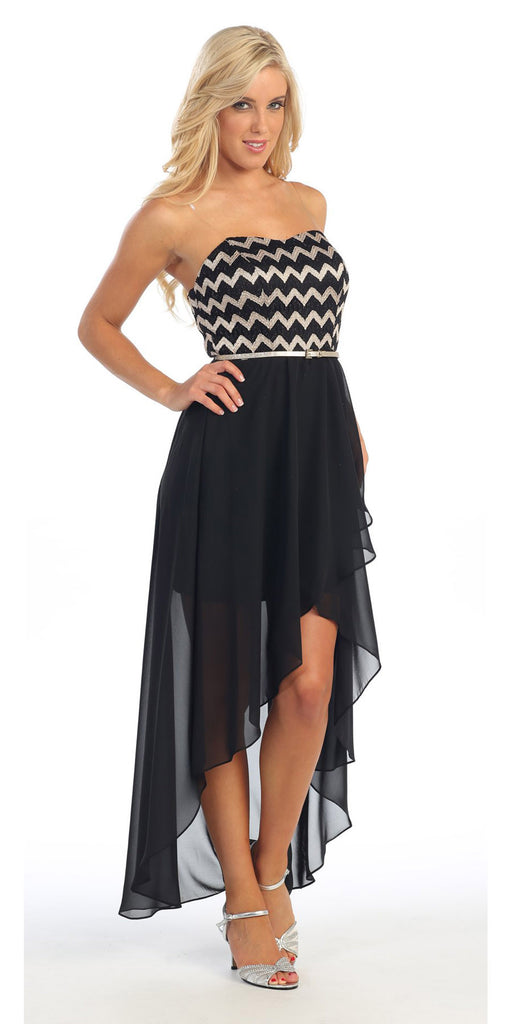 Short Black High Low Chiffon Dress Semi Formal Strapless Includes Belt
