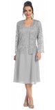 Short Silver Mother of Groom Dress Chiffon Knee Length Lace Jacket