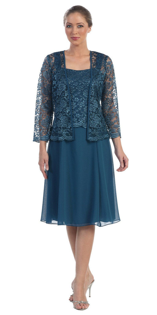 Short Teal Mother of Groom Dress Chiffon Knee Length Lace Jacket