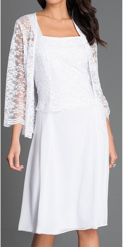 Short White Mother of Groom Dress Chiffon Knee Length Lace Jacket