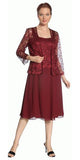 Short Burgundy Mother of Groom Dress Chiffon Knee Length Lace Jacket