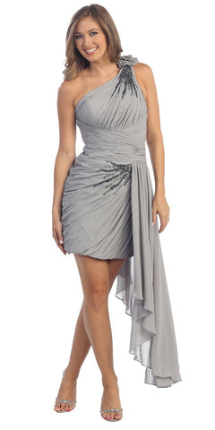 Short Goddess Gray Dress Single Strap Left Sash Ruched Bodice