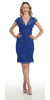 Short Knee Length Royal Blue Lace Sheath Dress Short Sleeve V Neck