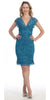 Short Knee Length Teal Lace Sheath Dress Short Sleeve V Neck