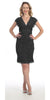 Short Knee Length Black Lace Sheath Dress Short Sleeve V Neck