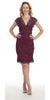 Short Knee Length Plum Lace Sheath Dress Short Sleeve V Neck