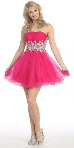 Short Studded Empire Waist Fuchsia Puffy Prom Dress