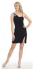Side Draped Sleeveless Short Black Cocktail Dress