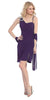 Side Draped Sleeveless Short Plum Cocktail Dress