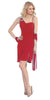 Side Draped Sleeveless Short Red Cocktail Dress