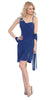 Side Draped Sleeveless Short Royal Blue Cocktail Dress