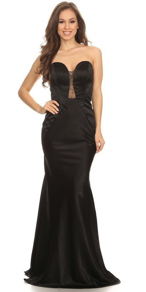 Sleek Satin Gown Black Floor Length Strapless Sweetheart