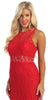 Sleeveless Red Lace Dress Knee Length Illusion Neck/Waist